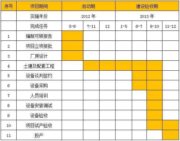 织绒项目可行性研究报告-实施进度